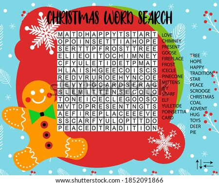 Educational game for children. Christmas word search puzzle.  Worksheet for learning english about chrismas holidays. Vector Eps 10.