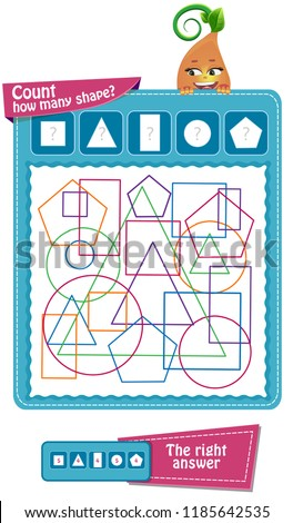 educational game for children to attention. Task game count how many geometric shapes