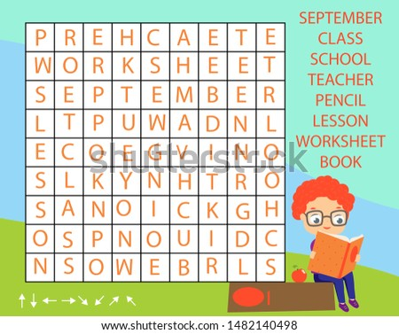 Educational game for children. Word search puzzle kids activity. Back to school theme learning vocabulary