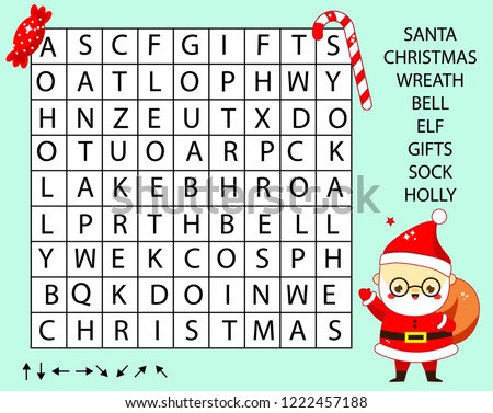 Educational game for children. Word search puzzle kids activity. New Year and christmas theme learning vocabulary.