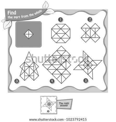 educational game for kids and adults, puzzle, development of logic, iq. . black and white coloring book. Task game  find part of the whole