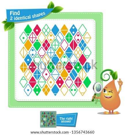 educational game for kids and adults . thinking puzzles . Task game find 2 identical shapes