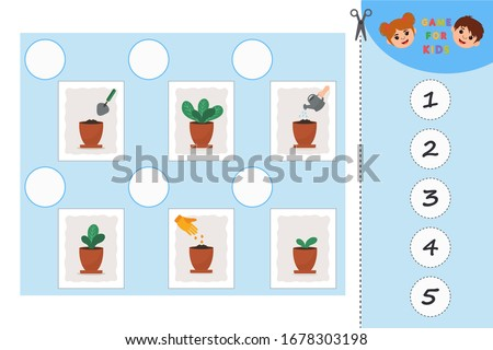 Educational game for kids. Growing a plant in the pot. Plant growth stages. Learning symmetry for preschool children and kids.  Printable worksheet.
