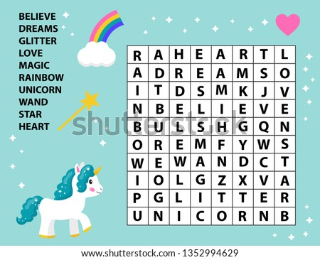 Educational game word search for kids. Crossword game. Fairy tale. Cute cartoon vector unicorn, rainbow and magic wand. Learning english vocabulary. ストックフォト ©