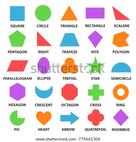 Educational geometric shapes set. Understanding of geometry poster for teaching and learning in school. Vector flat style cartoon shapes illustration isolated on white background