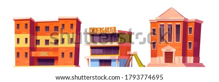Educational institutions kindergarten, school and university buildings front view facade. Modern city establishment for studying, architecture isolated on white background. Cartoon vector illustration Photo stock ©