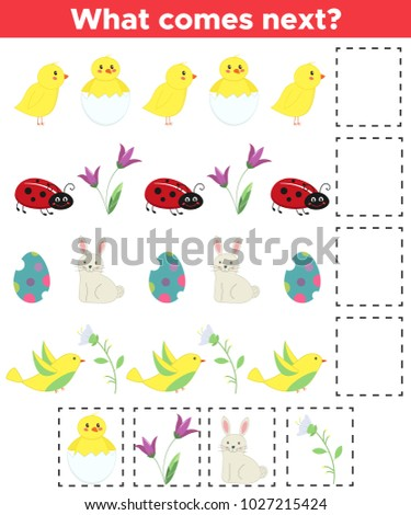 Educational logic game for children. What comes next? Spring theme, Easter. Funny cartoon characters, chickens, ladybug, rabbit, bird and flowers. Vector illustration