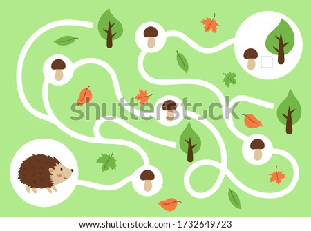 Educational maze game for children. Help the hedgehog find all mushrooms. Learn count. Activity worksheet for preschoolers. Cute cartoon animals. Stock photo ©