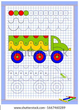 Educational page for kids. Printable worksheet on square paper for children. Learn to draw geometrical figures. Developing coloring and tracing skills. School math textbook. Baby coloring book.