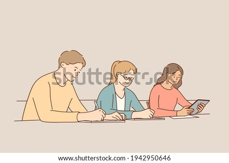 Educational process, learning, classroom concept. Group of young people studying in university sitting in auditorium during lecture writing information vector illustration  Сток-фото ©