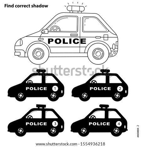 stock vector educational puzzle game for kids find correct shadow police car coloring page outline of cartoon