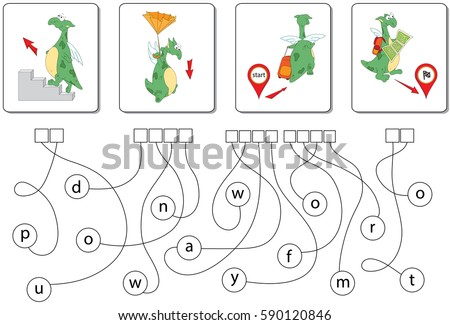 Educational puzzle game with dragon for kids. Find the hidden prepositions up, down, away from and to