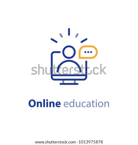 Educational resources vector line icon set, online learning courses, distant education, e-learning tutorials