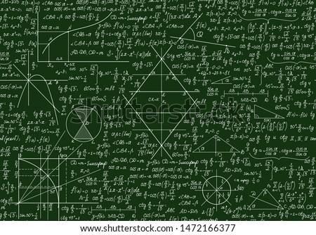 Educational school vector seamless pattern with math formulas, handwritten  on the green chalkboard