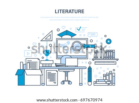 Educational, scientific literature, research works, statistics, knowledge base, reference materials, data. Classroom, teaching, education, knowledge. Illustration thin line design of vector doodles.