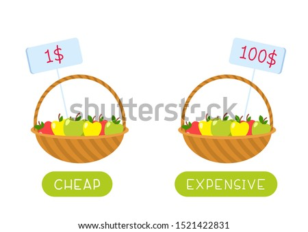 Educational word card with fruits vector template. Flash card for english language. Opposites concept, cheap and expensive. Food basket with low and high price tags flat illustration with typography Foto stock ©