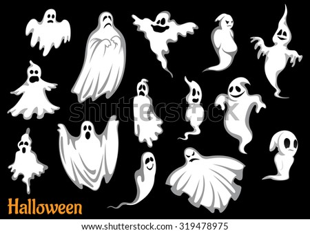 eerie flying halloween ghosts