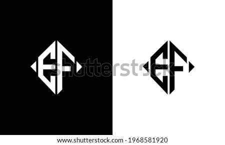 EF initial logo abstract shape vector black and white Stok fotoğraf ©