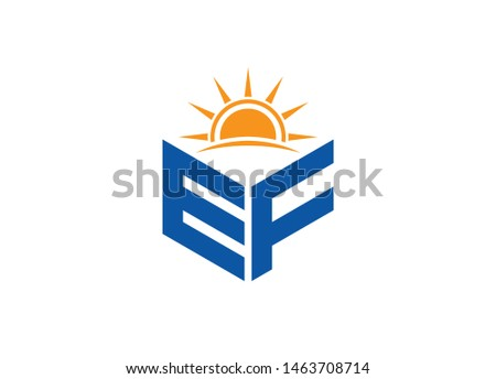 EF Letter logo with Sun symbol Photo stock ©