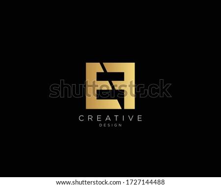 EF Logo Design , Creative Minimalist Letter EF Logo Design Stok fotoğraf ©