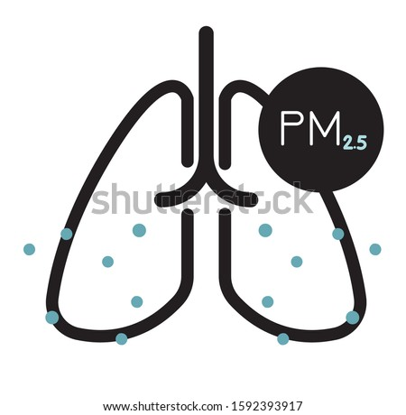 Effect of Particulate Matter PM 10 and 2.5 Pollution on Human Lungs - Icon as EPS 10 File