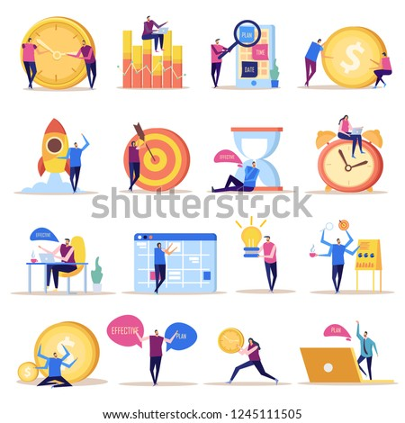 Effective management concept flat icons collection of isolated doodle style images with human characters and symbols vector illustration