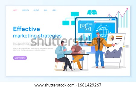 Effective marketing strategies of people cooperation online. Man and woman characters cooperation for analyzing graph and email developing. Webpage or website template, landing page flat style vector