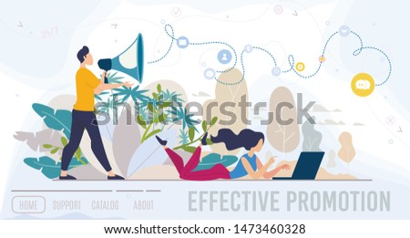 Effective Promotion, Advertising Agency, Digital Marketing Company, Online Service Flat Vector Web Banner, Landing Page Template. Man Promoting with Loudspeaker, Woman Working on Laptop Illustration
