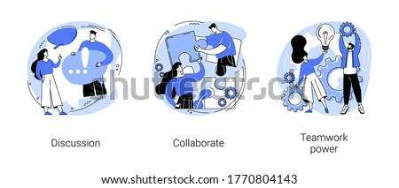 Effective team-working abstract concept vector illustration set. Discussion, collaboration, teamwork power, share opinion, brainstorming, corporate website, goal achievement abstract metaphor.