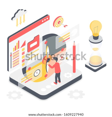 Effective time management isometric vector illustration. Planning projects to meet deadline. Productivity and multitasking. Timetable indicator. Virtual platform cartoon conceptual design element