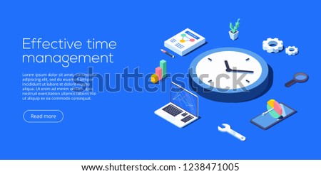 Effective time management isometric vector illustration. Task prioritizing organization for effective  productivity. Job schedule optimization concept.