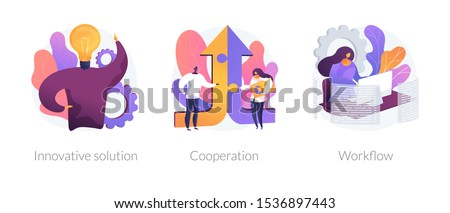 Effective work icons set. Creative ideas generation, team building, productivity management. Innovative solution, cooperation, workflow metaphors. Vector isolated concept metaphor illustrations Foto d'archivio ©