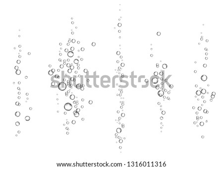 Effervescent drink. Underwater fizzing air bubbles on white  background. Fizzy sparkles in water, sea, aquarium, ocean. Fizz. Undersea vector texture.