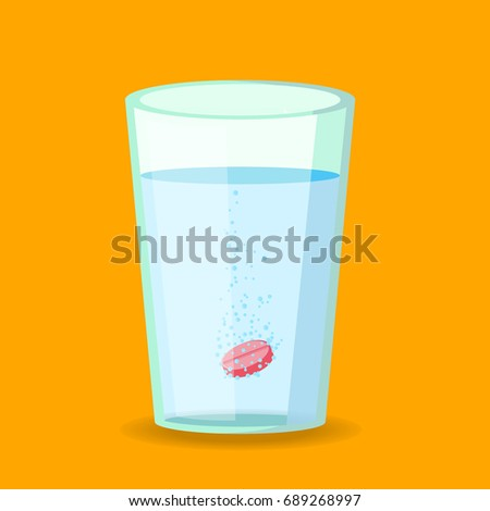 Effervescent pill dissolving in water cup. Flat design of tablets falling on bottom of transparent glass mug for pharmacy headache medicine or aspirin pain treatment vitamins. Vector illustration
