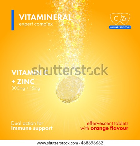 Effervescent soluble tablet pills. Vitamin C plus Zinc soluble pills with orange flavour in water with sparkling fizzy bubbles trail. Vitamineral complex package design with citrus yellow background