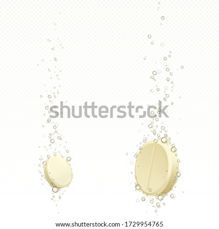 Effervescent soluble tablet with bubbles in water isolated on transparent background. Vector realistic mockup of white fizzy pill, dissolving medicine drug, antibiotic or vitamin Foto d'archivio ©