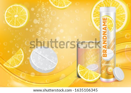 Effervescent vitamin C tablets advertising poster design template. Vector realistic soluble tablets plastic container, glass of water with fizzy pill, lemon slices, sparkling bubbles and copy space. Foto d'archivio ©