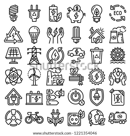 Efficiency city nature energy icon set. Outline set of efficiency city nature energy vector icon for web design isolated on white background