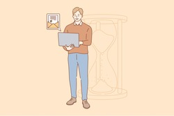 Efficiency in work, successful task completion, excellent time management. Happy young businessman standing with laptop near big sandglass and getting good news by email vector illustration