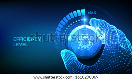 Efficiency levels knob button. Increasing Efficiency Level. Wireframe hand turning a efficiency test knob to the maximum position.  Vector illustration.