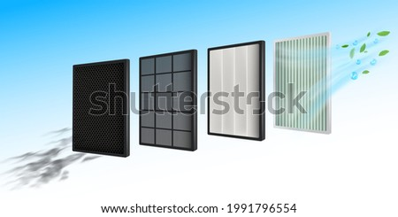 Efficient air filtration technology Prevent small dust, virus, bacteria. Air filter layer in air conditioners, cars, air filters. For maximum efficiency and good health.Realistic vector file.