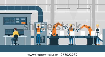 Efficient smart factory with workers, robots and assembly line, industry 4.0 and technology concept - Shutterstock ID 768023239