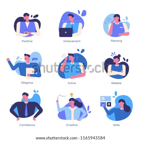 Efficient way for successful business character icons. flat design style vector graphic illustration set