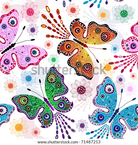 Effortless floral pattern with bright butterflies and flowers (vector)