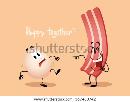 egg and bacon cute illustration