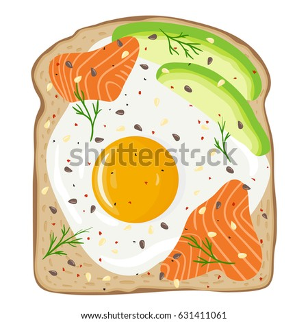 egg  avocado and salmon toast