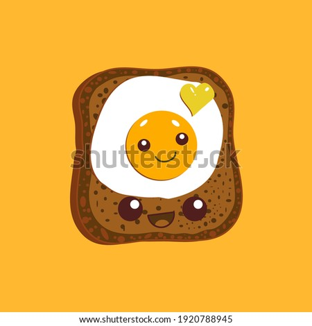 Egg sandwich. Slice of bread and fried egg isolated on yellow background. Vector illustration.