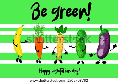 Eggplant, celery, cucumber, carrots and banana. Cartoon cute characters with hands and faces on a striped background. Greeting card for vegan day and vegetarian day.