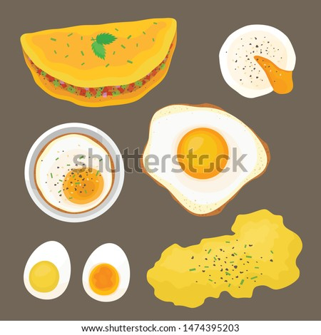 Eggs Illustration Vector Set in Flat Style Isolated on Brown Background - Illustration of Egg Cooked in various Methods - Omelette, Poached, Fried, Baked, Soft Boiled, Hard Boiled, and Scrambled Egg