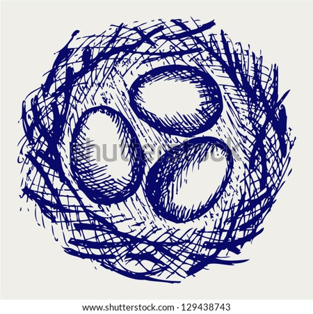 Eggs in nest. Doodle style